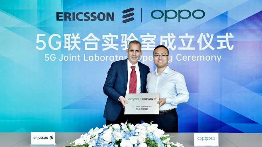 OPPO i Ericsson OPPO i Ericsson świętują otwarcie wspólnego laboratorium 5G. (Po lewej: Luca Orsini, Head of Networks i Vice President, MNEA, Ericsson. Po prawej stronie: Andy WU, Vice President i President of Software Engineering w OPPO)