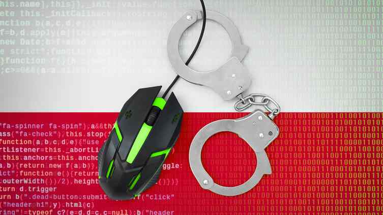 cyberbezpieczeństwo, Poland flag and handcuffed computer mouse. Combating computer crime, hackers and piracy
